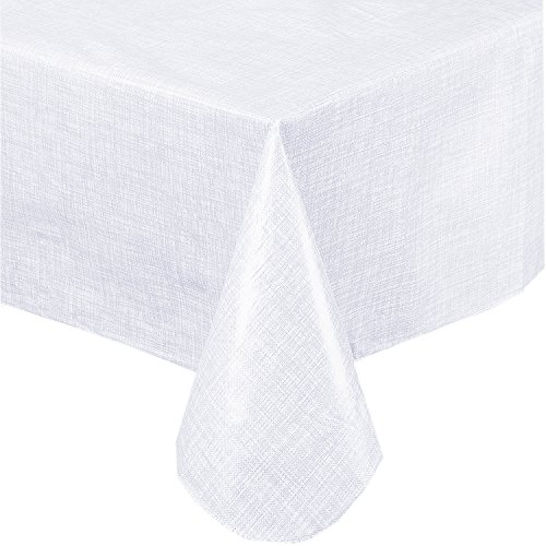 Premium Solid Color Vinyl Flannel Backed Tablecloth 60 x 84 Inch Oval, White