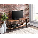 None 2-tier Vintage Brown/Metal Frame Industrial Style Entertainment Plasma TV Table Stand