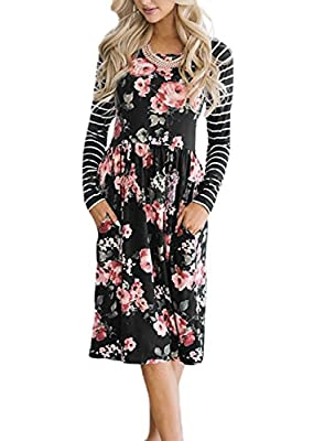 Lovezesent Women Floral Print Raglan Striped Long Sleeve Midi Dress with Pockets
