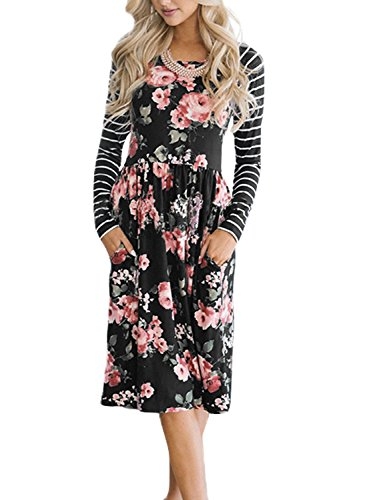 HOTAPEI Juniors Fall Striped Long Sleeve Floral Print Casual Loose Swing Pleated Modest Shift T-Shirt Dresses for Women Tunic with Pockets Knee Length Empire Waisted Skater Midi Dress Large ()