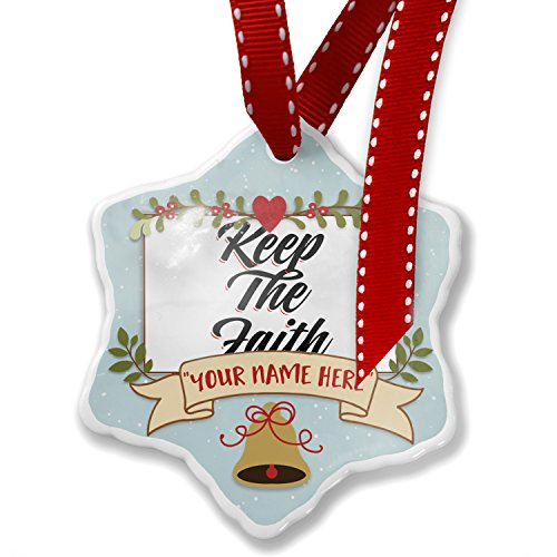 Add Your Own Custom Name, Vintage Lettering Keep The Faith Christmas Ornament NEONBLOND by NEONBLOND