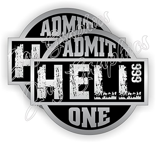 (2x) HELL ~ ADMIT ONE Hard Hat Stickers | Motorcycle for sale  Delivered anywhere in USA