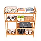 4 Tier Bamboo Space Saving Free Standing Storage Organizer Shoes Tower Rack