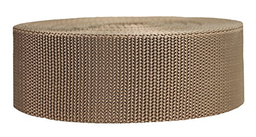 Strapworks Heavyweight Polypropylene Webbing - Heavy Duty Poly Strapping for Outdoor DIY Gear Repair, 2 Inch x 25 Yards, Tan