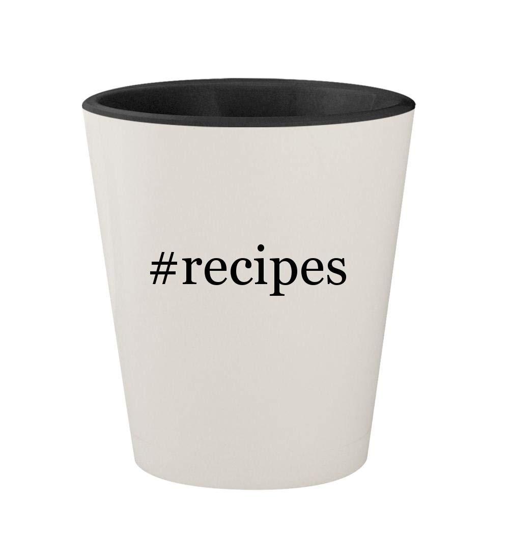 #recipes - Ceramic Hashtag White Outer & Black Inner 1.5oz Shot Glass