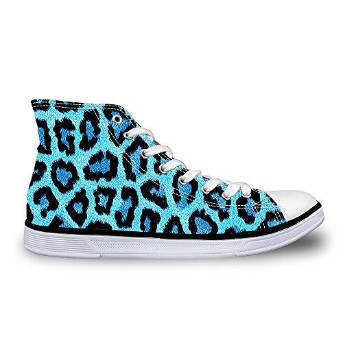 FOR U DESIGNS Stylish Leopard Print Womens High Top Lace up Canvas Fashion Sneaker Blue ZDegDRPBc
