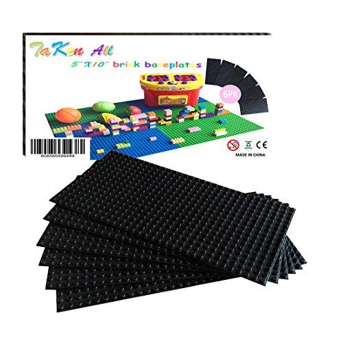Building Bricks Block Base Plates - Black 6 Pack of 5 x 10 Baseplates - Tight Fit with Major Brick Sets