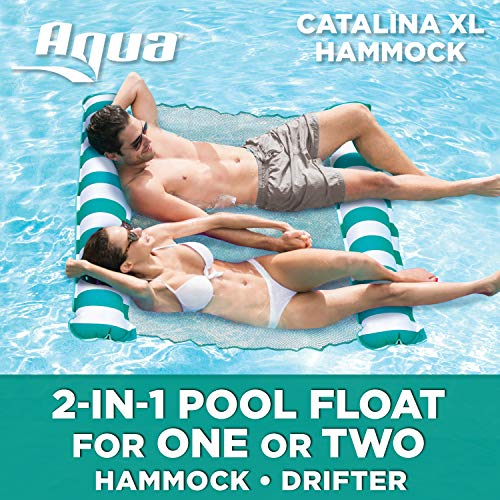Aqua Catalina XL Hammock, 4-in-1 Multi-Purpose Inflatable 1-2 Person Pool Float, Water Lounge, Teal/White Stripe (1 Lounge 2)