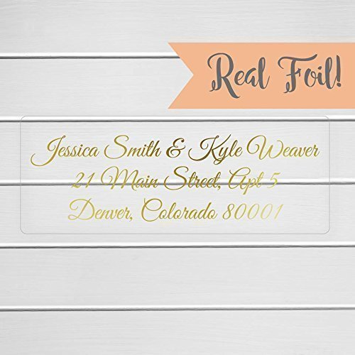 60ct gold or color foil wedding invitation return address labels clear transparent return address - Return Address For Wedding Invitations