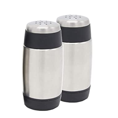 Spice Jar 2 Set,Plainmarsh Stainless Steel Salt and Pepper Shakers Spice Tins Spice Rack Organizer Condiment Container Set Sift-Pour Pack of 2