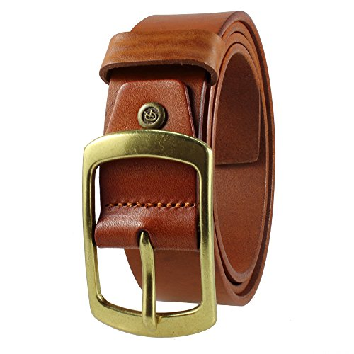 Gelante Mens Leather Belt - One Piece Top Grain Thick Heavy Duty 38002-Brown-L (Brown Leather Top Antique)