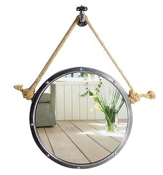 Mmli Miroirs Miroir Mural Avec Corde De Chanvre Ronde Salle