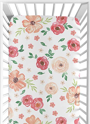 Sweet Jojo Designs Peach and Green Baby or Toddler Fitted Crib Sheet for Watercolor Floral Collection - Pink Rose Flower