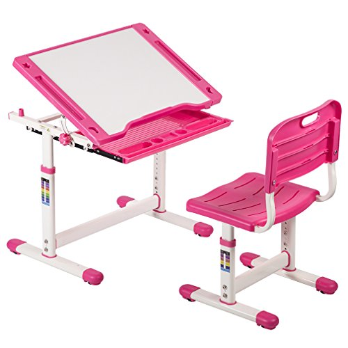 BestMassage Children Desk Kids Study Child School Adjustable Height Children's Table Chair Set with Storage For Kids-Pink