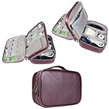 BUBM Portable Waterproof Travel Cable Organizer Storage Bag, Electronics Accessories Travel Organizer Carrying Case for Laptop Accessories, Hard Drive, Pen, Smartphone, Passport-Purple