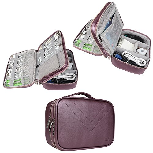 BUBM Portable Waterproof Travel Cable Organizer Storage Bag, Electronics Accessories Travel Organizer for Laptop Accessories, Hard Drive, Pen, Smartphone, Passport-Purple