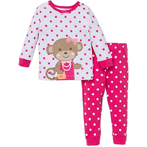 Baby Girl 2 Piece Monkey Toddler Pajamas by Little Me - Pink - 3T