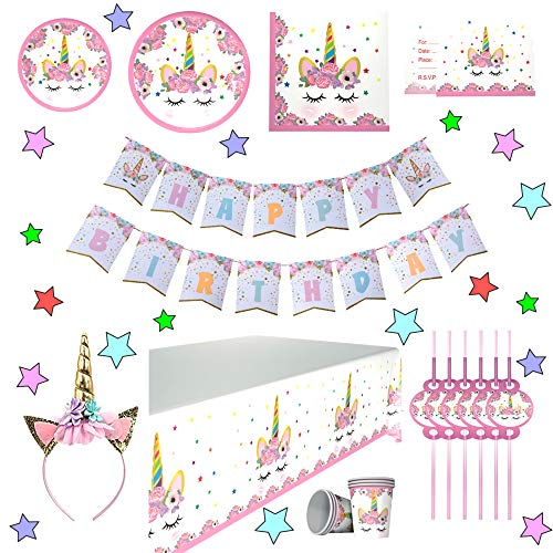 (Unicorn Birthday Party Supplies - Plates Set and Decorations - Perfect for The Birthday Girl's Magical Unicorn Party - Serves 12 - Disposable Table Cover, Plates, Cups, Napkins, Invitation Cards, Straws, Happy Birthday Banner and Unicorn Headband by Selfborns)