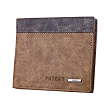 Donalworld Men's Frosted PU Leather Wallets Card Cash Thin Short Khaki Purse Wallet