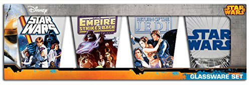 Silver Buffalo Star Wars Episodes 4, 5 and 6 1-Ounce Mini Glas Set, Set of 4, Multicolor