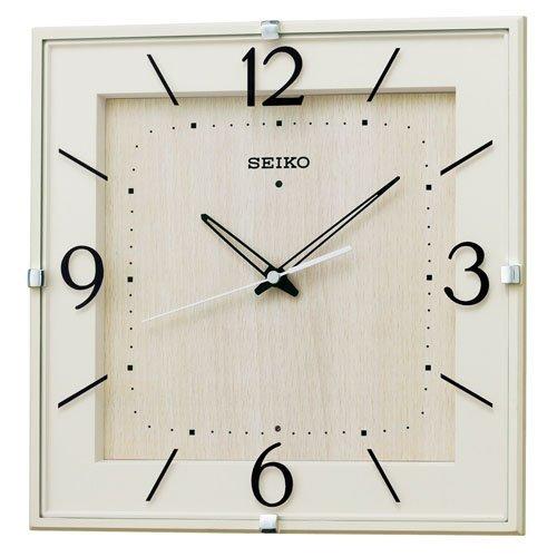 (セイコークロック) SEIKO CLOCK 電波壁掛け時計 KX398A ナチュラル スクェアタイプ 四角 アイボリー 木目 アナログ B00QWQ4LIS