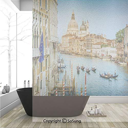 (3D Decorative Privacy Window Films,Sunset in Venice Gondolas on Canal Grande with Basilica di Santa Maria Della Salute,No-Glue Self Static Cling Glass film for Home Bedroom Bathroom Kitchen Office 36x)