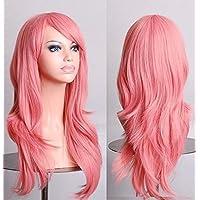 70cm Wavy Curly Sleek Full Hair Lady Wigs w Side Bangs Cosplay Costume Womens, Pink