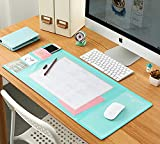 Desk Mats Large Size Gaming Mouse Pad Protector Laptop Desk Pads with 2019 Calendar, Pockets and Dividing Rule Scale (Green)