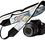 World Map Camera Strap. Black DSLR / SLR Camera Strap. Durable, light weight and well padded camera strap. code 00002