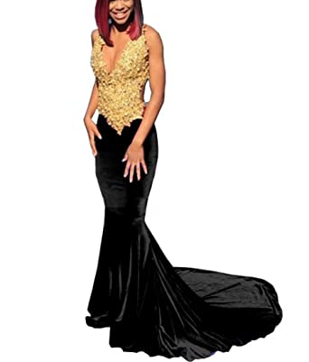 DressTailor Womens Burgundy Mermaid Gold Appliques Prom Dresses V-Neck 0pen Back African Velvet Evening