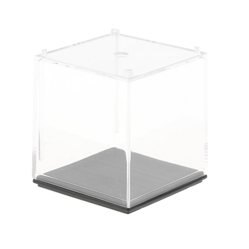 Homyl Clear Display Case Box Show Case with Black Base Acrylic Box for Collectibles 2'' x 2'' x 2''