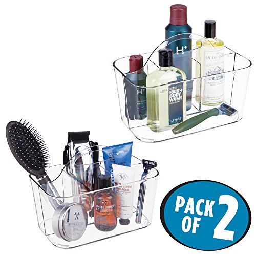 (mDesign Bathroom Storage Caddy Divided Bin - 4 Section Tote with Built-In Handle for Organizing Men's Grooming Kit - Shaving Cream, Razors, Beard Oil, Combs, Brushes, Hair Gel, Cologne - 2 Pack, Clear)