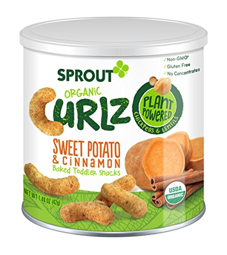 Sprout Organic Baby Food, Sprout Organic Curlz Toddler Snacks, Sweet Potato & Cinnamon, 1.48 Ounce Canister (Pack of 1), Plant Powered, Gluten Free, USDA Certified Organic, Nothing Artificial