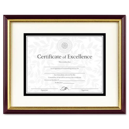 DAX : Document/Certificate Frame w/Mat, Laminated Wood, 11x14, Mahogany/Gold Leaf -:- Sold as 2 Packs of - 1 - / - Total of 2 Each ()