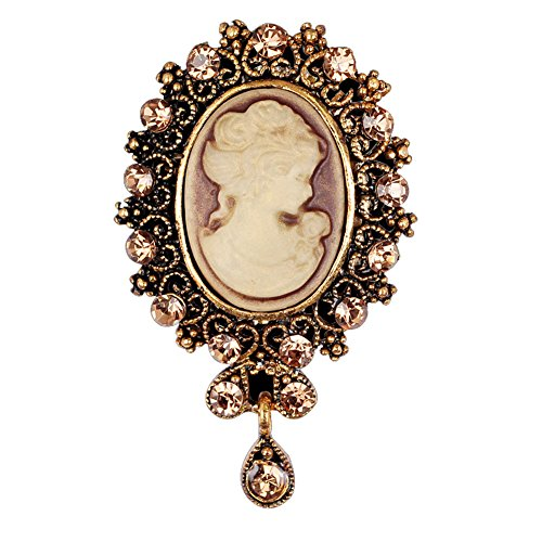 Yellow Gold Cameo Pin - RareLove Vintage Rhinestone Cameo Brooch for Women Yellow Crystal Beauty Picture Alloy