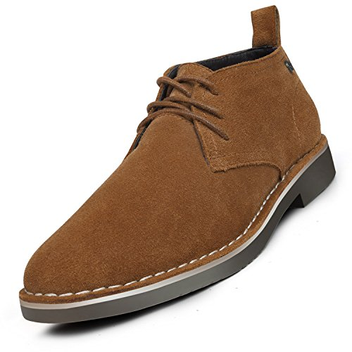 GM GOLAIMAN Suede Leather Chukka Boots For Men Modern Lace up Oxford Desert Ankle Booties Brown 12
