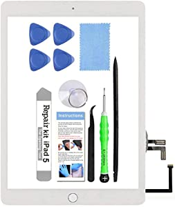 for iPad 5 (5th Gen 2017) A1822 A1823 Screen Replacement Glass Touch Digitizer Repair Kit with Home Button & Tools - Only for iPad 5 5th Generation (White)