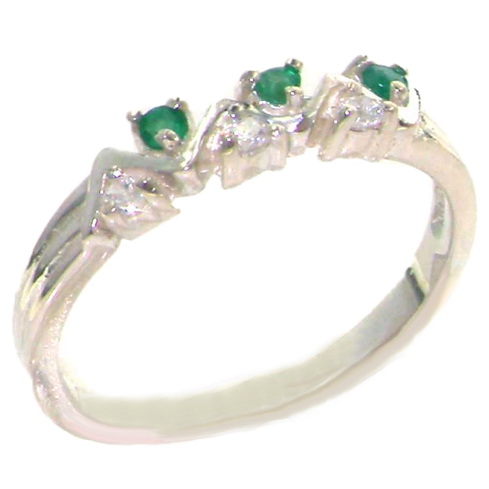 925 Sterling Silver Natural Emerald and Diamond Womens Eternity Ring - Sizes 4 to 12 Available