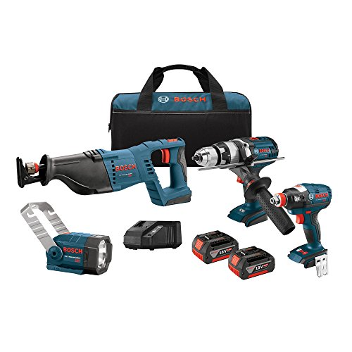 Bosch CLPK414-181 18V 4-Tool Combo Kit with 1/2 inch Hammer Drill/Driver, Socket Ready Impact Driver, Reciprocating Saw and Flashlight