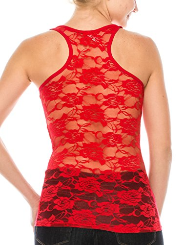 ALLabout_U Women's Floral Lace Racerback Tank Top Thermal Red S ()