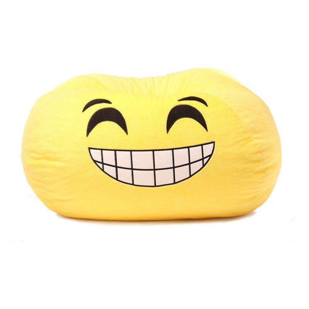 GoMoji 9631201 Emoji Bean Bag Grinning Chair, 28 x 28, yellow
