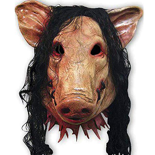 HAOSUN Halloween Saw Mask, Horrible Mask Pig Face Mask Masquerade Costume Latex Mask, Mask for Adults ...]()