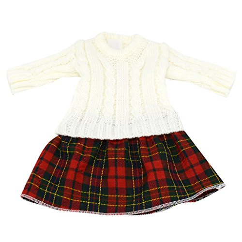 Dress American Girl 18' Doll (Dovewill 18 inch Dolls Clothes White Cable Knit Winter Sweater Dress for 18'' American Girl Dolls)