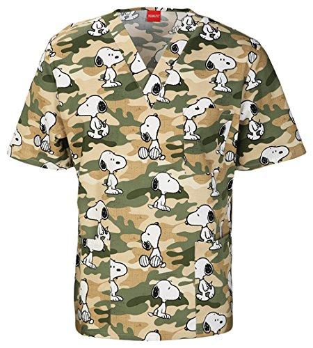 100% Cotton Scrub Top (Tooniforms by Cherokee Unisex V-Neck Snoopy Print Scrub Top Medium Print)
