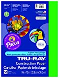 Pacon Tru-Ray Construction Paper, 9-Inches by 12-Inches, 50-Count, Festive Green (103006)