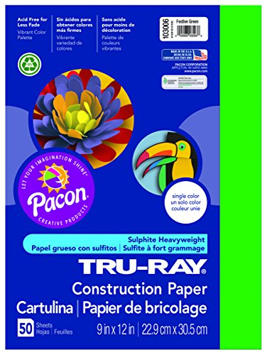 Pacon Tru-Ray Construction Paper, 9-Inches by 12-Inches, 50-Count, Festive Green (Fade Green)