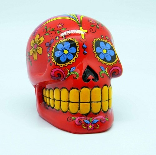 (Fantasy Gifts Red Sugar Skull Mexican Day of the Dead Coin Bank)