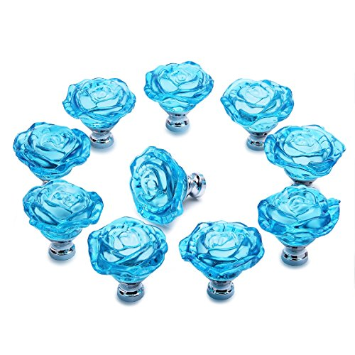 PUQU 10 Pcs Diameter 50mm Clear Crystal Glass Cabinet Door Knobs Handles Pulls Cupboard Handles Drawer Wardrobe Hardware Furniture Decoration DIY (Light Blue)
