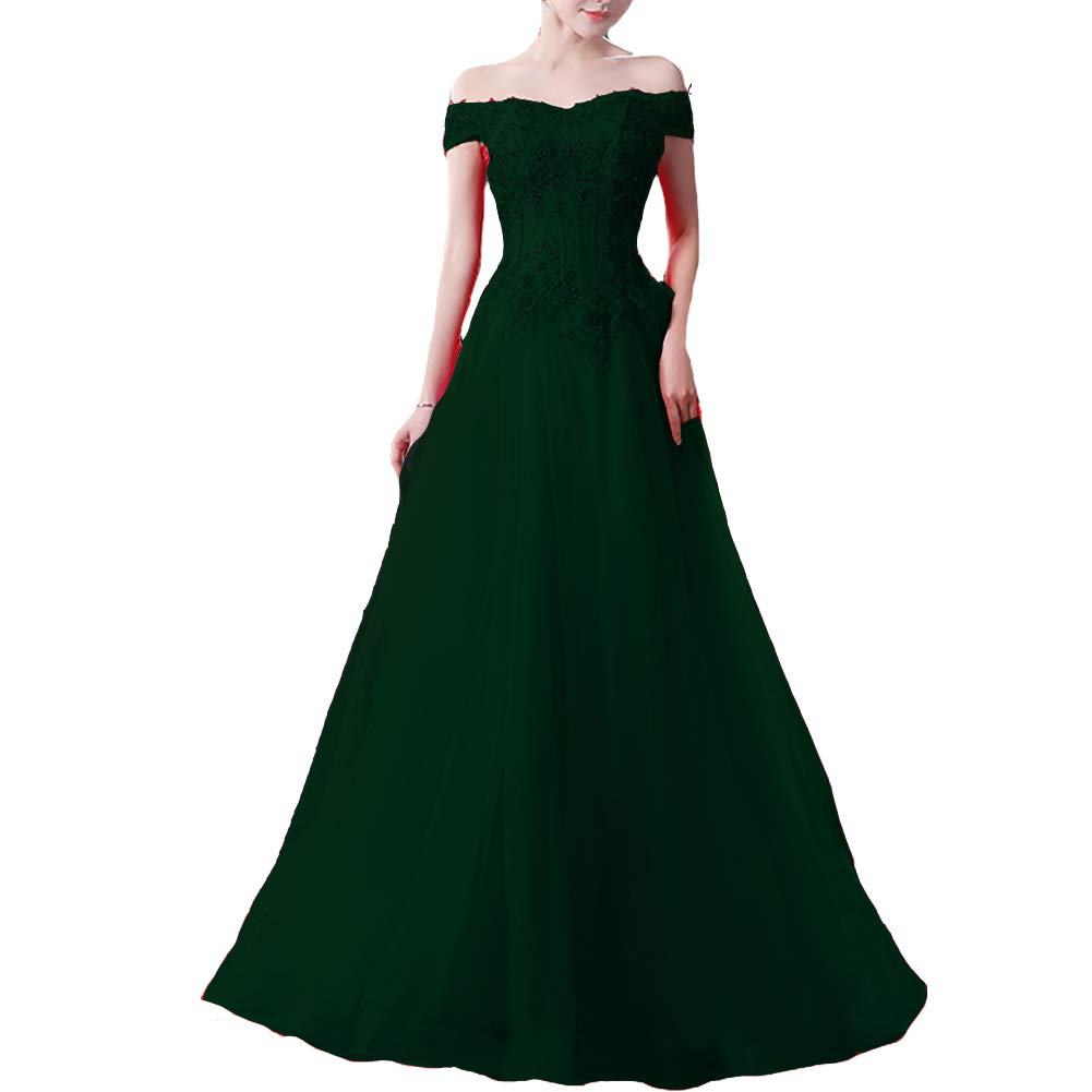 Emerald Green Kivary Tulle Beaded Lace Appliques Off The Shoulder Long Prom Evening Dresses