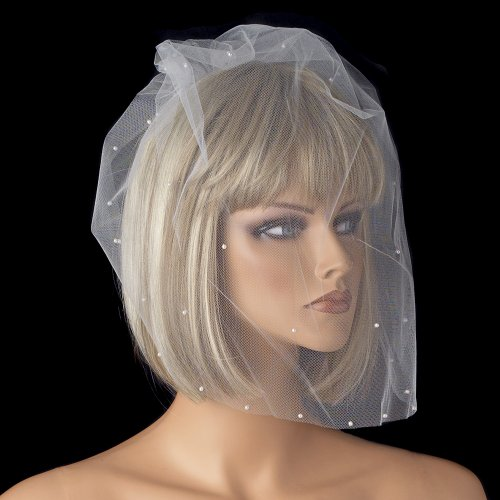 Anissa Single Tier Fine Birdcage Face Veil Scattered with Pearls Wedding Bridal Birdcage Veil